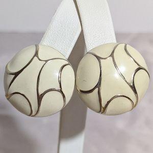 Timeless Vintage Silver White & Gold Clip Earrings